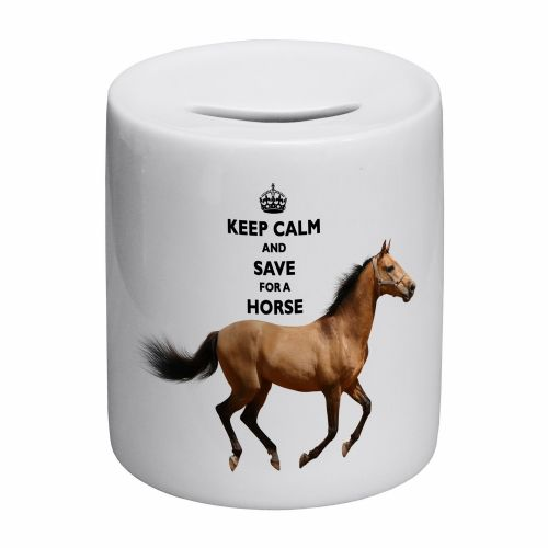 Keep Calm And Save For A Horse Novelty Ceramic Money Box